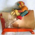 Vintage Rocking Horse with Monkey Tin Litho Toy Wakasuto Japan