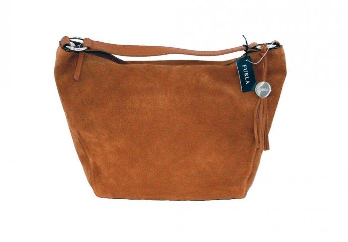 FURLA Hope Medium Noce Suede Hobo Handbag Bag