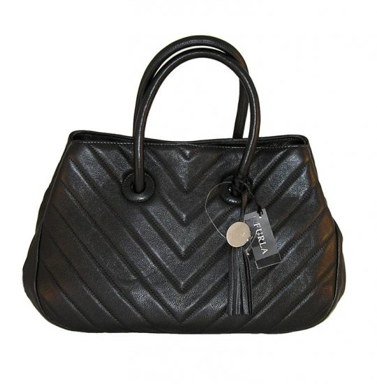 FURLA Giselle Quilted Leather Onyx Tote Handbag