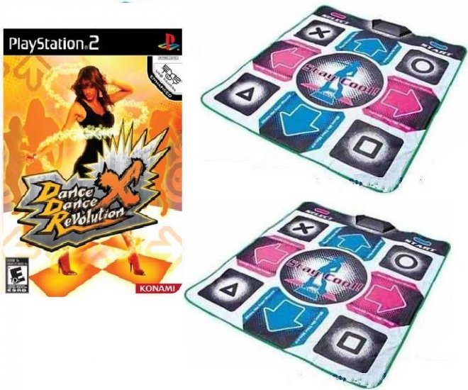 PS2 Dance Dance Revolution x DDR X Game + 2x PS2 Pad Mat