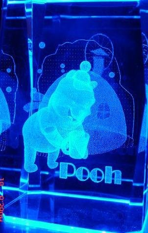 Snow Winnie the Pooh 3D Laser Crystal + Light Stand