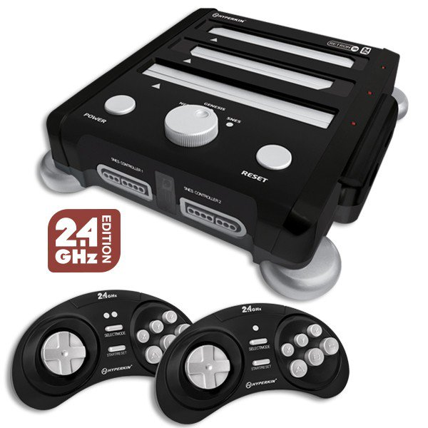 Black Retron 3 3in1  Video Game System for NES, SNES and Genesis games