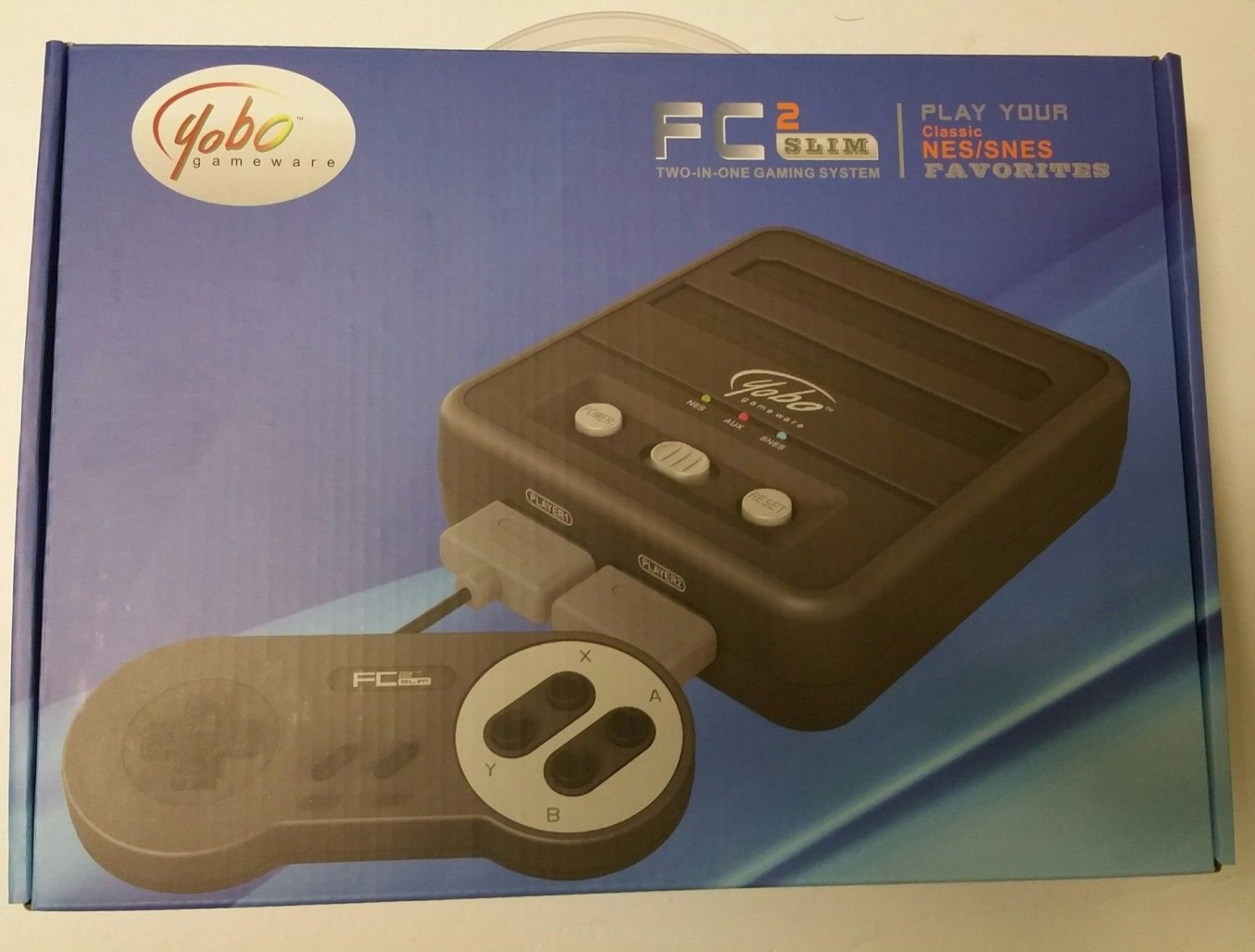 FC2 Slim Twin NES and Super SNES Video Game System Black