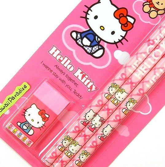 sanrio HELLO KITTY pink WOODEN PENCILS sharpener ERASER SET super kawaii
