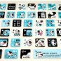 super kawaii MILK PROJECT glitter KEYBOARD STICKERS cute cow character blue NEW 3