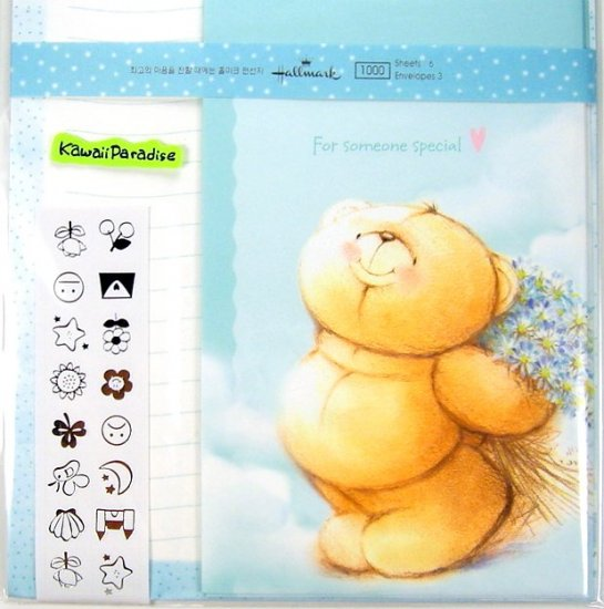 hallmark korea FOR SOMEONE SPECIAL super cute LETTER SET stickers teddy bear flowers