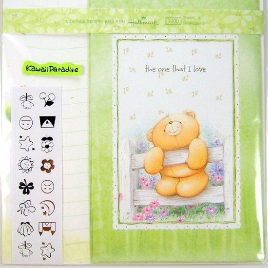 hallmark korea THE ONE THAT I LOVE super cute LETTER SET stickers teddy bear flowers