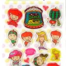 kawaii korean anime STRAWBERRY GIRL dalki glitter PUFFY STICKERS dance 5