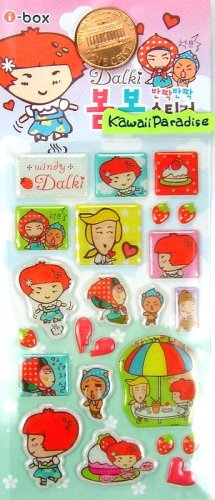 kawaii korean anime STRAWBERRY GIRL dalki glitter PUFFY STICKERS friends cake 6