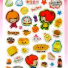 kawaii korean anime STRAWBERRY GIRL dalki glitter PUFFY STICKERS food diet bread cake soda 1