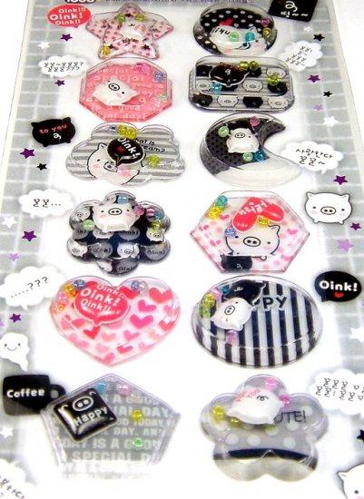 kawaii OINK OINK PIG piglet CAPSULE STICKERS beads cute