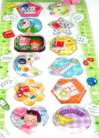 kawaii HI SCHOOL class study CAPSULE STICKERS beads cute school supply