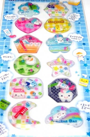 kawaii BATH TIME toiletry clean bubble CAPSULE STICKERS beads cute bubble toothbrush