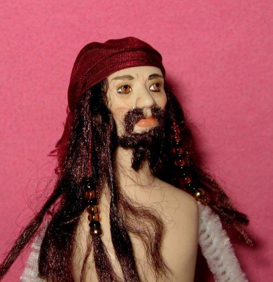 miniature porcelain dollhouse doll Jack Sparrow pirate Johnny Depp
