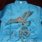 Mens turquoise shirt with eagle and tiger print