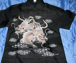 Mens black shirt with double dragon design