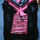 Pink satin and black lace trim corset Large
