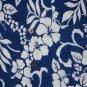 Mens blue Hawaiian shirt w/white flowers