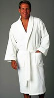 Cypress Terry Velour Shawl Bathrobe OSFA White Only (10603H)