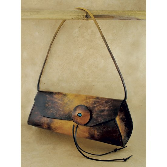 Brown and Yellow Tie Dye Leather Purse