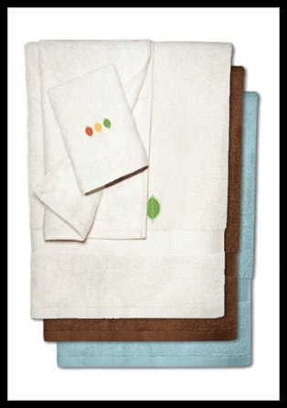 Bamboo Embroidered Towels - Streetlight Leaves