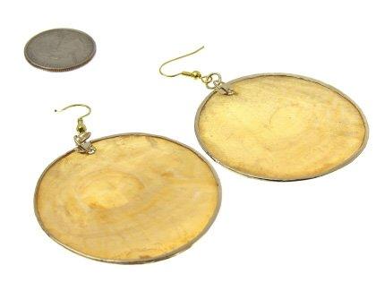 Circle Gold Shell Earrings