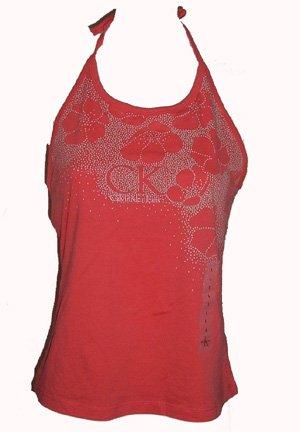 Calvin Klein Jeans Coral Logo Halter Sz Large
