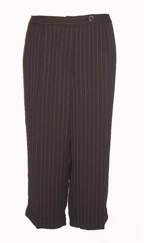 Jones New York Brown Pinstripe Cropped Capris Sz 24