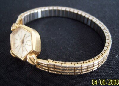14K Gold Watch Ladies Andre Bouchard Swiss Hadley Band Vintage