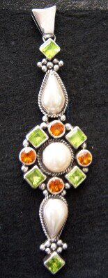 Pendant Sterling Silver Peridots Pearls Citrines Ladies Stunning Long Intricate Design