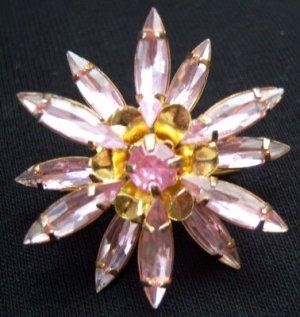 Pink Rhinestones 3D Pin Brooch Multi Petal Flower Vintage