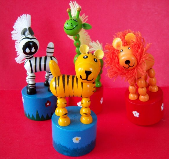 Vintage Rare Push Up & Collapse 4 Different Animal Toys