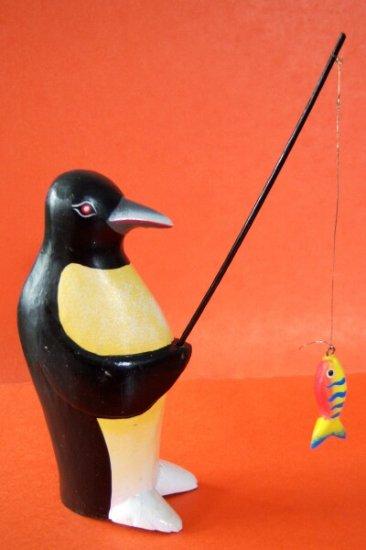 Penguin Penquin Hand Carved Wood Penguin Gone Fishin'