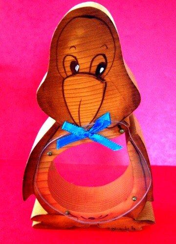 Penguin Penquin Wood Acrylic Bank Money Box Hand Made
