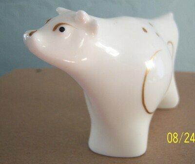 Cow Figurine White Porcelain Gold Trim Mint Cond