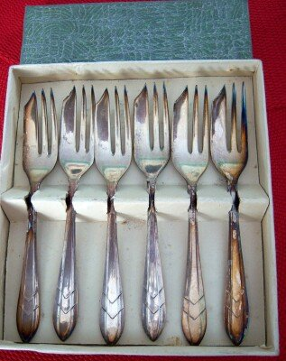 Pastry Forks Set of 6 New Old Stock EPNS England