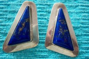 Sterling Lapis Handmade Custom Signed Triangle Earrings