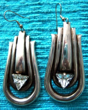 Silver & Lg Triangular CZ Long Earrings for Mom or Prom