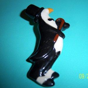 Penguin Penquin Vintage Signed Ceramic Pin Brooch