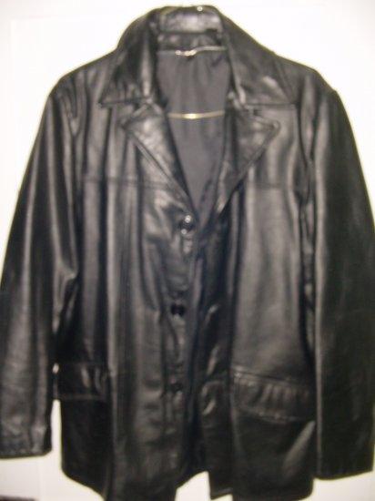 Vintage 70s Black Leather Car Coat waist Sz 40 jacket L FREE SHIPPING