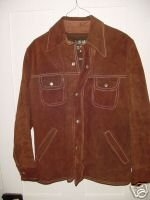 Vintage 70s Brown Suede Leather Car Coat Sz 40 jacket L