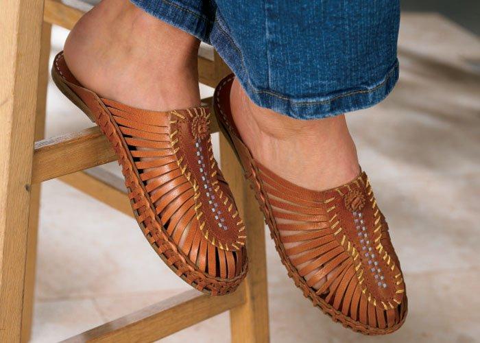 Soft Surroundings Calcutta Leather Slide Shoes Sandal Brown 8M