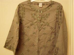 Gap Girl Caftan Tunic Tops Shirt Embroidery Sequined Long Sleeve Green  XXL 14 16