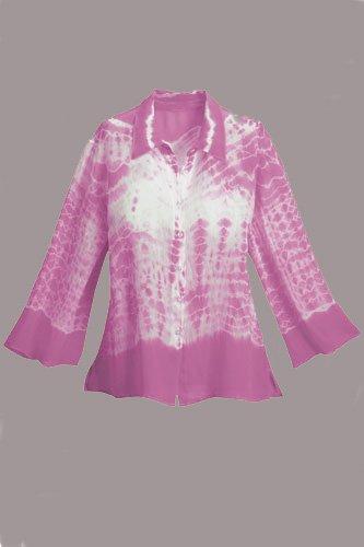 Soft Surroundings Silk Tie Dye Tee Tops Shirt Pink Misses M 8 10
