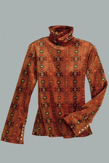 Soft Surroundings Kilim Velvet Turtleneck Long Sleeve Top Shirt Misses XS 2 4