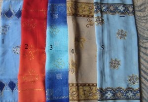 Hijab Shawl Batik Embossed with Fringes 56 in x 21 in Blue