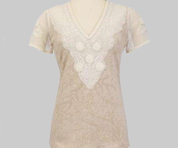 Soft Surroundings Tessoro Tee Tops Crochet Lace Short Sleeve M 10 12