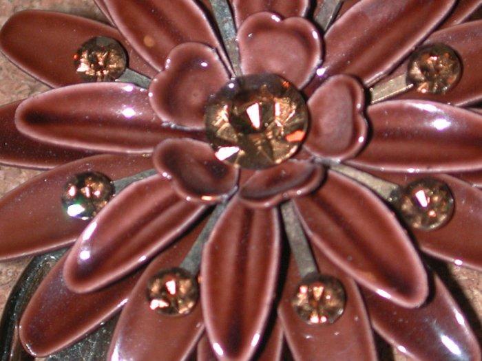 Vintage Brown enamel Flower Rhinestone Pin/Brooch 1960's