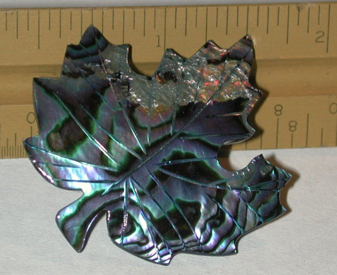 Vintage Abalone/shell Carved Leaf Pin Brooch free shipping