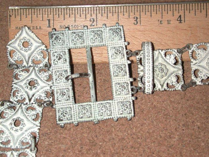 Fancy Old Vintage Antique Metal Belt w/buckle Victorian white finish